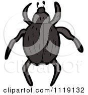 Cartoon Of A Brown Beetle 2 Royalty Free Vector Clipart by lineartestpilot