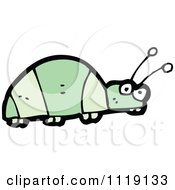 Cartoon Of A Green Beetle 4 Royalty Free Vector Clipart by lineartestpilot