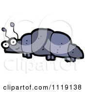 Cartoon Of A Blue Beetle 1 Royalty Free Vector Clipart by lineartestpilot