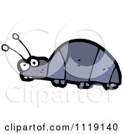 Cartoon Of A Blue Beetle 3 Royalty Free Vector Clipart by lineartestpilot