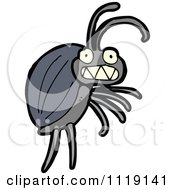 Cartoon Of A Blue Beetle 4 Royalty Free Vector Clipart by lineartestpilot