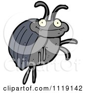 Cartoon Of A Blue Beetle 5 Royalty Free Vector Clipart by lineartestpilot