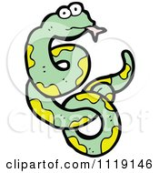 Cartoon Of A Green And Yellow Snake Royalty Free Vector Clipart