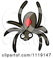 Cartoon Of A Brown Spider Royalty Free Vector Clipart by lineartestpilot