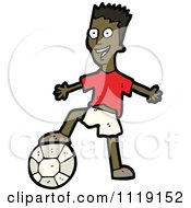 Vector Cartoon Of An Energetic Black Soccer Player Man Resting His Foot On A Ball Royalty Free Clipart Graphic by lineartestpilot