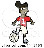 Vector Cartoon Of A Black Soccer Player Man Resting His Foot On A Ball Royalty Free Clipart Graphic by lineartestpilot