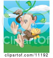 Cute Baby Monkey In A Diaper Sucking On A Pacifier And Carrying A Teddy Bear While Swinging On Vines In A Rainforest