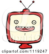 Cartoon Of A Red Box TV Character 1 Royalty Free Vector Clipart