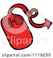 Cartoon Of A Red Demonic Computer Mouse 1 Royalty Free Vector Clipart