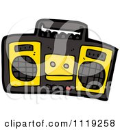Cartoon Of A Black And Yellow Radio Royalty Free Vector Clipart by lineartestpilot