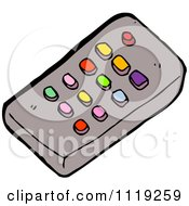 Cartoon Of A Tv Remote Control With Colorful Buttons Royalty Free Vector Clipart by lineartestpilot