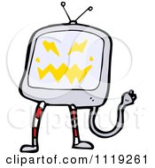 Cartoon Of A Possessed Television Screen Royalty Free Vector Clipart