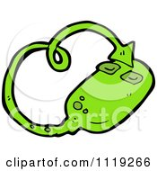 Cartoon Of A Green Demonic Computer Mouse 1 Royalty Free Vector Clipart