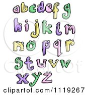 Clipart Colorful Lowercase Letters With Eyes Royalty Free Vector Illustration