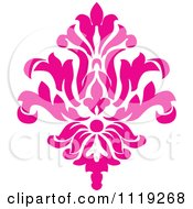 Clipart Of A Pink Victorian Floral Damask Design Element 2 Royalty Free Vector Illustration by BestVector