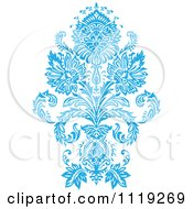 Clipart Of A Blue Victorian Floral Damask Design Element 3 Royalty Free Vector Illustration by BestVector