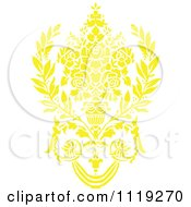 Clipart Of A Yellow Victorian Floral Damask Design Element 2 Royalty Free Vector Illustration by BestVector