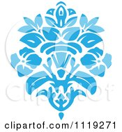 Blue Victorian Floral Damask Design Element 2