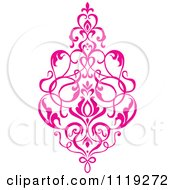 Clipart Of A Pink Victorian Floral Damask Design Element 1 Royalty Free Vector Illustration by BestVector