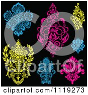 Clipart Of Blue Pink And Yellow Victorian Floral Damask Design Elements Royalty Free Vector Illustration by BestVector