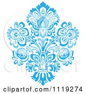 Clipart Of A Blue Victorian Floral Damask Design Element 1 Royalty Free Vector Illustration