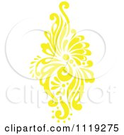 Clipart Of A Yellow Victorian Floral Damask Design Element 1 Royalty Free Vector Illustration by BestVector