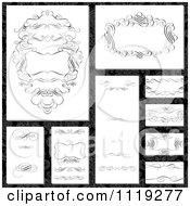 Clipart Of Ornate Black Swirl Frame Designs On Damask Royalty Free Vector Illustration