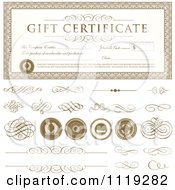 Clipart Of A Gift Certificate With Swirls And Seals Royalty Free Vector Illustration by BestVector