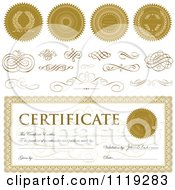 Clipart Of A Certificate With Sample Text Seals And Swirls Royalty Free Vector Illustration