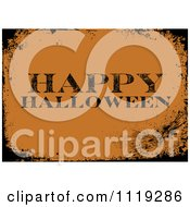 Clipart Of A Grungy Orange Happy Halloween Greeting With Black Distressed Borders Royalty Free Vector Illustration