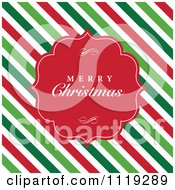 Clipart Of A Merry Christmas Greeting In A Red Frame Over Diagonal Stripes Royalty Free Vector Illustration