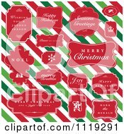 Clipart Of Christmas Greetings In Red Frames Over Diagonal Stripes Royalty Free Vector Illustration