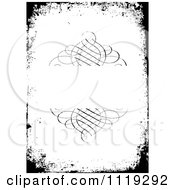 Clipart Of A Grungy Black And White Swirl Frame Invitation Royalty Free Vector Illustration
