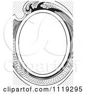 Clipart Of A Retro Black And White Victorian Oval Frame Royalty Free Vector Illustration