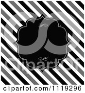 Clipart Of A Black Frame With Swirls Over Diagonal Black White And Gray Stripes Royalty Free Vector Illustration