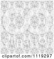 Clipart Of A Black And White Ornate Swirl Background Royalty Free Vector Illustration