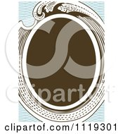 Clipart Of A Retro Victorian Oval Frame On Blue Royalty Free Vector Illustration