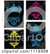 Clipart Of Dark Grungy Backgrounds With Blue Pink And Yellow Text And Floral Designs Royalty Free Vector Illustration