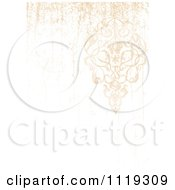 Clipart Of A Distressed Ornate Floral Background With Copyspace Royalty Free Vector Illustration