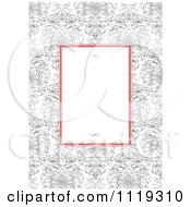 Clipart Of A Red And White Frame With Swirls Over Ornate Swirls Royalty Free Vector Illustration