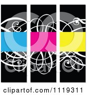 Clipart Of Ornate Swirl Invitation Panels With Bright Copyspace Royalty Free Vector Illustration
