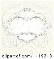 Clipart Of An Ornate Swirl Frame With Copyspace On Beige Royalty Free Vector Illustration by BestVector