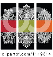 Clipart Of Ornate Victorian Damask Invitation Panels With Copyspace 2 Royalty Free Vector Illustration