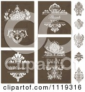 Clipart Of Brown Distressed Backgrounds And Damask Designs Royalty Free Vector Illustration