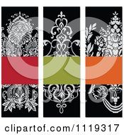 Clipart Of Ornate Victorian Floral Invitation Panels With Copyspace Royalty Free Vector Illustration