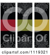 Clipart Of Ornate Victorian Damask Invitation Panels With Copyspace 1 Royalty Free Vector Illustration