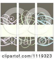 Clipart Of Pastel Ornate Swirl Invitation Panels With Copyspace Royalty Free Vector Illustration