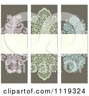 Clipart Of Ornate Victorian Damask Invitation Panels With Copyspace 3 Royalty Free Vector Illustration