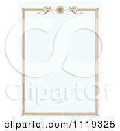 Clipart Of A Pastel Blue Border With Angels Playing Horns At The Top Royalty Free Vector Illustration
