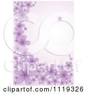 Clipart Of A Purple Background With Flowers Royalty Free Vector Illustration